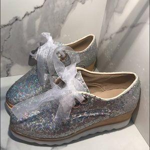 NWOT Sheer Iridescent ribbon Platform Tennis Shoes